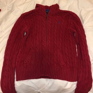 Dark Red Ralph Lauren Knit Zip Up Sweater